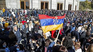 Protests in Yerevan on Wednesday in response to the truce in Nagorno-Karabakh