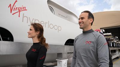First two passengers climb on board the Virgin Hyperloop in Los Angeles