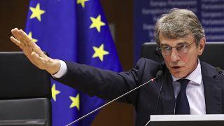 El presidente de la Eurocámara David Sassoli al inicio de la sesión plenaria, Bruselas, 11/11/2020