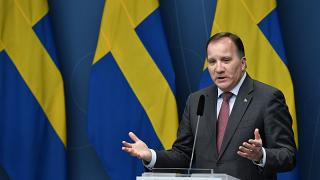 Stefan Lofven gives a news conference on new restrictions to curb the spread of the coronavirus pandemic, in Stockholm, Sweden, Wednesday Nov. 11, 2020