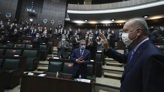 الرئيس التركي رجب طيب أردوغان في البرلمان ليخطب أمام كتلته النيابية ـ أنقرة ـ 2020/11/11