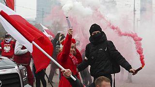 Manifestants nationalistes à Varsovie, 11 novembre 2020