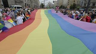 People take part in a gay pride parade in Warsaw, Poland, on Saturday, June 8, 2019.