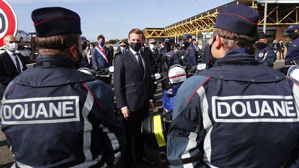 Le président français à la frontière franco-espagnole