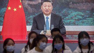 الرئيس الصيني شي جينبينغ خلال كلمة له في شنغهاي