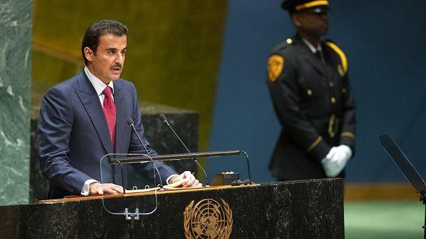 أمير قطر الشيخ تميم بن حمد آل ثاني خلال القائه لكلمة في الدورة 74 للجمعية العامة للأمم المتحدة