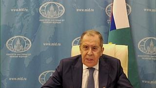 Russian Foreign Minister Sergei Lavrov speaking at a news conference Thursday