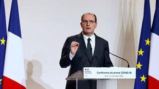 رئيس الوزراء الفرنسي جان كاستكس يتحدث خلال مؤتمر صحفي في وزارة الصحة الفرنسية في باريس ، 12 نوفمبر 2020.