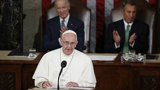 FILE - In this Thursday, Sept. 24, 2015 file photo, Pope Francis addresses a joint meeting of Congress on Capitol Hill in Washington.