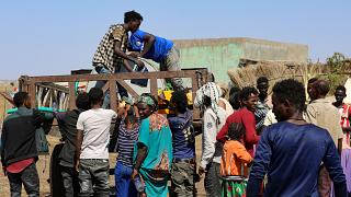 Ethiopians who fled the fighting, at a refugee camp in the Hamdait border area in Sudan