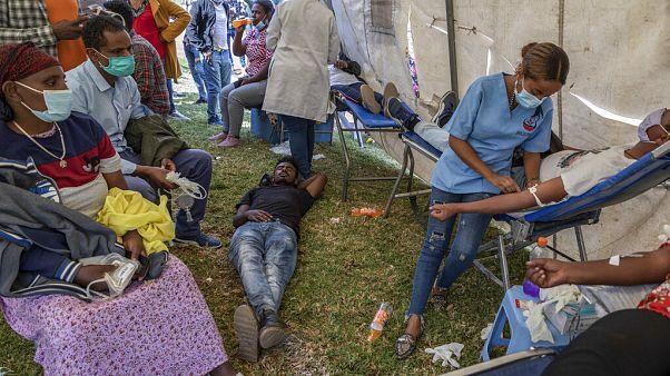 Dons du sang à Addis Abeba en soutien à l'offensive militaire contre la rébellion du Tigré, 12 novembre 2020