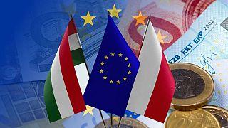 پرچمهای لهستان مجارستان و اتحادیه اروپا