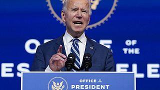 President-elect Joe Biden speaks at The Queen theatre, Tuesday, Nov. 10, 2020, in Wilmington