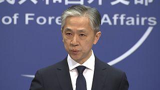 Wang Wenbin, le porte-parole de la diplomatie chinoise, félicitant Joe Biden pour sa victoire à la présidentielle américaine, le 13 novembre 2020 à Pékin