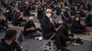 Manifestación en Barcelona para la reapertura del sector de la danza