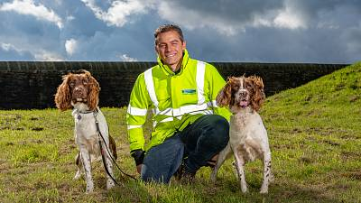 Yorkshire Water's leakage manager, Simon Redfern with CAPE dogs, Denzel and Kilo
