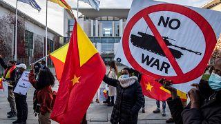 Almanya'da Etiyopya ile Tigray bölgesi arasındaki çatışmalara karşı Almanya'da düzenlenen bir protesto