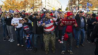 Supporters of President Donald Trump cheer as his motorcade drives past a rally of supporters near the White House, Saturday, Nov. 14, 2020, in Washington. (AP Photo/Evan Vucc