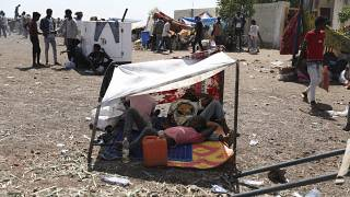 Refugees from Ethiopia's Tigray region at the UNCHR center at Hamdayet, Sudan, Nov. 14, 2020. Tigray's regional government has fired rockets at the neighboring Amhara region.
