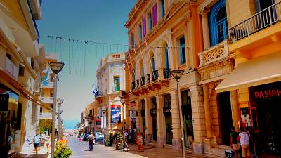 25th of August Street in central Heraklion leads from the Morosini or Lion's Fountain to the Mediterranean Sea.