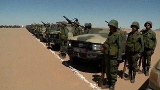 Soldados marroquíes en formación en al-Mahbes, en el Sáhara Occidental, el pasado 20 de marzo
