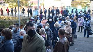 People wearing face masks queue at a polling station during the second round of Moldova's presidential election in the town of Varnita at Moldova - Transnistrian border