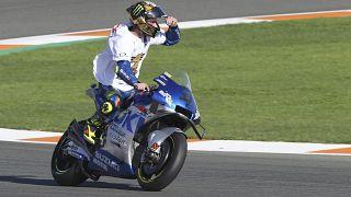 Joan Mir con SUZUKI ECSTAR celebra su victoria en el circuito Ricardo Tormo de Valencia, España 15/11/2020