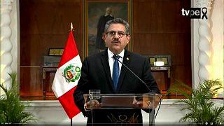 Manuel Merino durante su mensaje a la nación