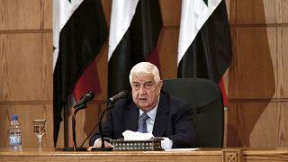 وزير الخارجية السوري وليد المعلم خلال مؤتمر صحفي، في دمشق، سوريا