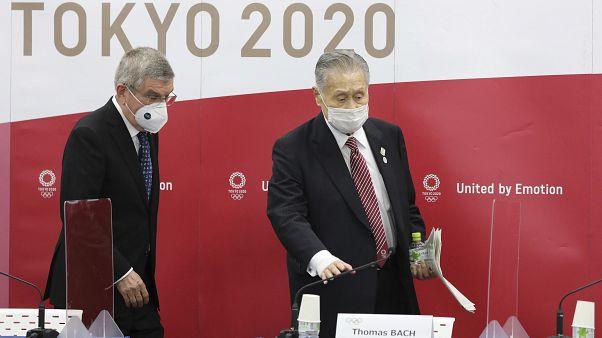 IOC-Präsident Bach und der Chef des japanischen Olympiakomitees, Yoshiro Mori