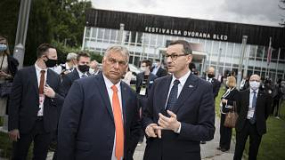 Orbán Viktor és Mateusz Morawiecki a 15. Bledi Stratégiai Fórum nemzetközi konferencián 2020. augusztus 31-én.