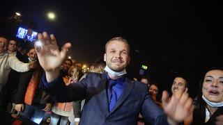 Drasko Stanivukovic from the Party of Democratic Progress (PDP) celebrates his victory in Banja Luka.
