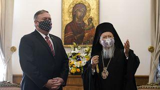 Secretary of State Mike Pompeo visits with Ecumenical Patriarch Bartholomew I