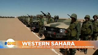 Soldiers next to armored vehicles in Western Sahara