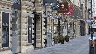 Closed shops are pictured in downtown Vienna, Austria, Tuesday, Nov. 17, 2020.