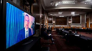 El presidente de Facebook, Mark Zuckerberg, testifica a distancia durante una audiencia del Comité Judicial del Senado en Washington, el 17 de noviembre de 2020.