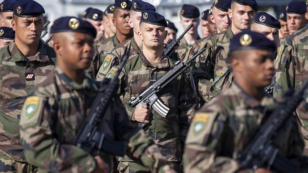 French soldiers pictured at the Rukla military base in Lithuania in September 2020