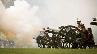 The King's Troop Royal Horse Artillery fire a 41 Gun Royal Salute to mark the 93rd birthday of Britain's Queen Elizabeth II, in Hyde Park, London, Monday April 22, 2019.