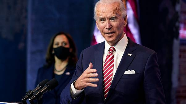 الرئيس الامريكي المنتخب جو بايدن رفقة نائبته المنتخبة كامالا هاريس في ديلاوير. 2020/11/16