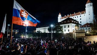 Антиправительственная демонстрация в Братиславе 17 ноября 2020