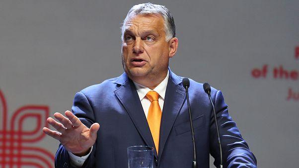 Orbán Viktor a visegrádi országok miniszterelnökeinek egyeztetésén tartott sajtótájékoztatón a lengyelországi Lublinban 2020. szeptember 11-én