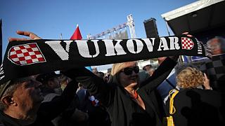 Several thousand people take part in a protest, on October 13, 2018 in Vukovar, to demand that the state speed up investigations of war crimes committed in the area.
