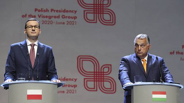 Viktor Orban, right, Prime Minister of Hungary and Polish Prime Minister Mateusz Morawiecki at a news conference in Lublin, Poland, September 19, 2020.