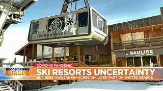 Ski lift in Alpine village of Courchevel