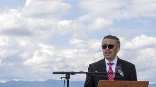 WHO, World Health Organization Director-General, Tedros Adhanom Ghebreyesus, speaks during the relaunch ceremony of the famous fountain 'Le Jet d'Eau', which was postponed due