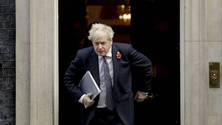 File photo: British Prime Minister Boris Johnson leaves 10 Downing Street in London. Nov. 10, 2020.