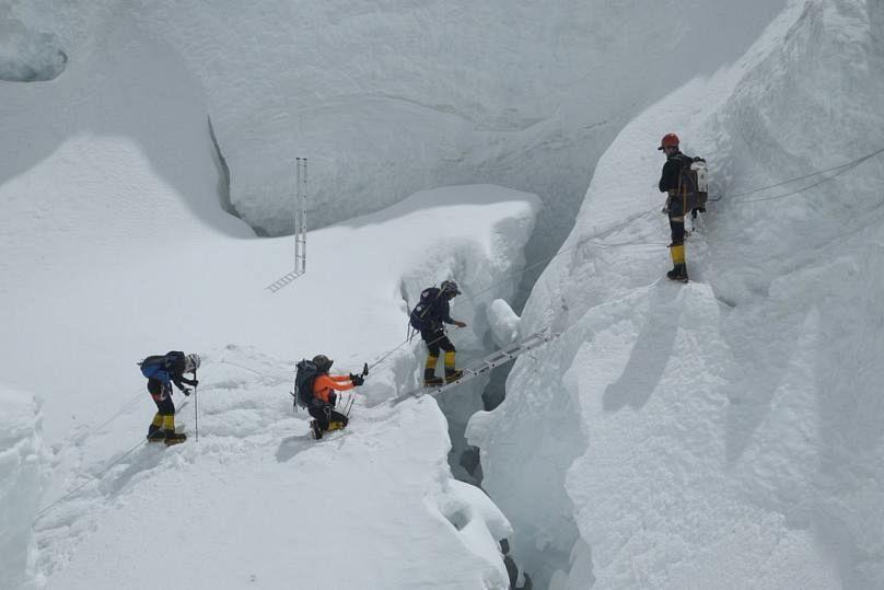Nadhirah and the team of four women cross an Everest crevass