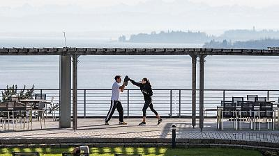 A personal training session overlooking Lake Constance at the Buchinger Wilhelmi resort, Germany.