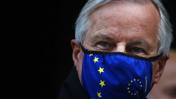 European Commission's Head of Task Force for Relations with the United Kingdom Michel Barnier leaves the Conference Centre in London, Thursday, Nov. 12, 2020