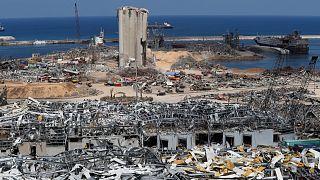 موقع الانفجار الذي هز ميناء بيروت في لبنان.